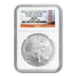 2012 (S) Silver Eagle - MS-69 NGC - Golden Gate Bridge/ER