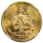 Mexico 1945 50 Pesos Gold Coin MS-64 NGC