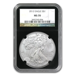 2012 Silver American Eagle - MS-70 NGC - Retro Black Insert