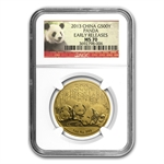 2013 1 oz Gold Chinese Panda MS-70 NGC Early Releases