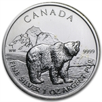 2011 1 oz Silver Canadian Grizzly - Abrasions/Spotted