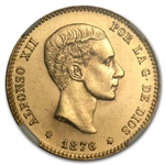 Spain 1876(62) DE.M 25 Pesetas Gold MS-66 NGC