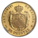 Spain 1876(62) DE.M 25 Pesetas Gold NGC MS-66