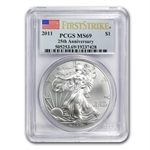 2011 Silver American Eagle - MS-69 PCGS - FS - 25th Anniv