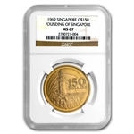 Singapore 1969 150 Dollars Gold Lighthouse NGC MS-67