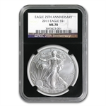 2011 Silver American Eagle - MS-70 NGC - Retro Black Insert