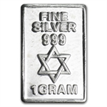 1 gram Star of David Silver Bar - .999 Fine