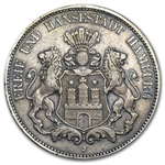 Hamburg Germany 1902-J 5 Mark Silver EF