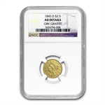 1843-D $2.50 Liberty Gold - Small D - AU Details NGC