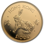 Hong Kong 1987 1000 Dollars Gold Rabbit NGC PF-69UC