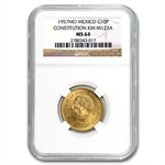 Mexico 1957 Centennial of the Constitution Gold Coin MS-64 NGC