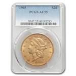 1905 $20 Gold Liberty Double Eagle - AU-55 PCGS