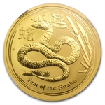 2013 1 oz Gold Lunar Year of the Snake (SII) NGC MS-70