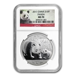 2011 Silver Chinese Panda 1 oz - MS-70 NGC