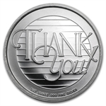 2013 1 oz Thank You Silver Round (w/Gift Box & Capsule)