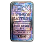 100 oz Johnson Matthey Silver Bar (Pressed / Beautiful Toning)