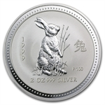 1999 2 oz Silver Lunar Year of the Rabbit (SI) (Light Abrasions)