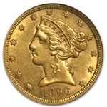 1896-S $5 Liberty Gold Half Eagle - AU-58 NGC