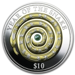 2013 Fiji $10 Silver 1 oz Year of the Snake Gilded with Pearl