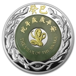 2013 2 oz Laos Proof Silver & Jade Year of the Snake Coin