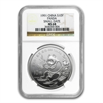 1991 1 oz Silver Chinese Panda - MS-68 NGC - Small Date