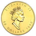 1990 1 oz Gold Canadian Maple Leaf