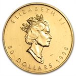 1998 1 oz Gold Canadian Maple Leaf