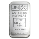 1 oz Johnson Matthey Silver Bar (Sealed, Plain Back) .999 Fine