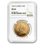 1967 1 oz Gold South African Krugerrand NGC MS-66