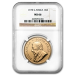 1978 1 oz Gold South African Krugerrand NGC MS-66
