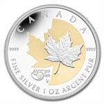2013 1 oz Silver Canadian-25th Anniv of the Silver Maple - Gilded