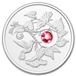2013 1/4 oz Silver Canadian $3 Hummingbird & Morning Glory Flower