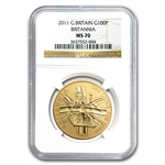 2011 1 oz Gold Britannia MS-70 NGC