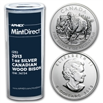 2013 1 oz Silver Canadian Wood Bison (25-Coin MintDirect® Tube)