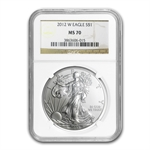 2012-W (Burnished) Silver American Eagle MS-70 NGC
