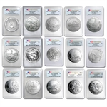 2010 - 2012-P 5oz Silver ATB 15-Coin Set SP-70 PCGS FirstStrike
