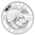 2013 1 oz Silver Canadian $25 Coin - The Beaver Family