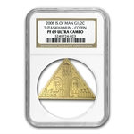 Isle of Man 1/2 oz. Gold Crown King Tut Triangle Coin NGC PF-69UC