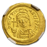 Byzantine Gold Solidus of Justinian I (527-565AD) NGC-MS
