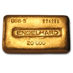 20 oz Loaf-Style Engelhard Poured Gold Bar .997 Fine