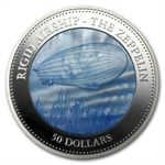 Cook Islands 2013 5 oz Silver Proof $50 Mother of Pearl- Zeppelin