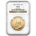 2002 1 oz Gold South African Krugerrand NGC MS-68 - Finest Known