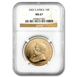 2002 1 oz Gold South African Krugerrand NGC MS-67