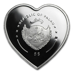 Palau 2009 Silver $5 Good Luck & Prosperity- Ladybug -Heart Shape