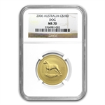 2006 1 oz Gold Year of the Dog Lunar Coin (Series I) NGC MS-70