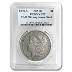 1878-S Morgan Dollar - VF-25 PCGS VAM-58 Long Nock Rev Top-100
