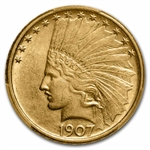 1907 $10 Indian Gold Eagle - No Motto - AU-58 PCGS