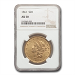 1861 $20 Gold Liberty Double Eagle - AU-50 NGC