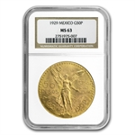 Mexico 1929 50 Peso Gold NGC MS-63
