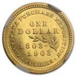 1903 $1.00 Gold Louisiana Purchase - McKinley AU-58 NGC